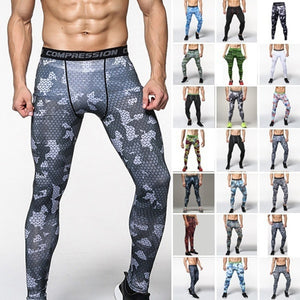 Sport Training Gym Wear Camo Compression Leggings Base Layer Fitness Jogging Trousers Tights Men's Running Pants wnlinC161224000