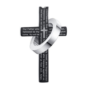 "Rain ""Vansmall-Stainless Steel Men's Cross W Lord's Prayer in English Pendant Crucifix Cross Mens Pendant with 24"""" Curb Chain"""