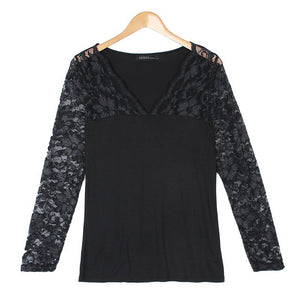 Sexy Ladies Women V Neck Lace Floral Stretchy Casual Tops Shirt Blouse