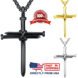 Men's Jewelry Stainless Steel Nail and Rope Cross Pendant Necklace
