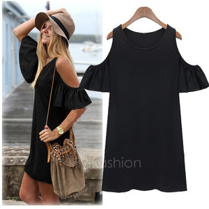 Women Butterfly Sleeve Cotton Cute Strap Off Shoulder Vest Dress Plus Size XXXL VVF