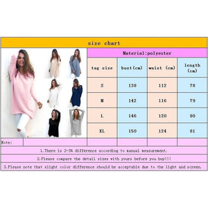 Smile Fashion Autumn Winter Dress Womens V-Neck Loose Knitted Oversized Baggy Sweater Jumper Tops Dress Outwear Plus Size S-XL V
