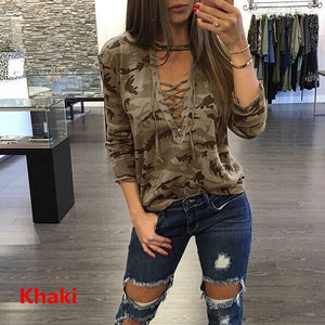 2018 Women Sexy Lace up Long Sleeve T-Shirt Slim Casual Camouflage Print Tops S-XXXXL