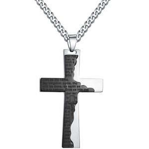 Stainless Steel Men's Cross Prayer in English Pendant Necklace (Size: 22, Color: Black & Silver)