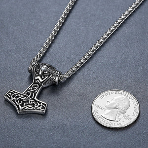Men's Stainless Steel Viking Thor's Hammer Celtic Knot Pendant Necklace, 61cm Link Chain
