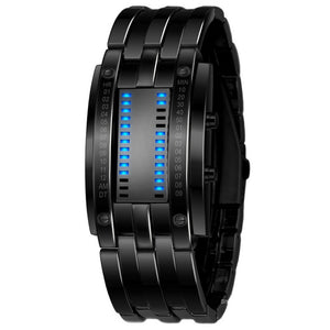 Hot Binary Watch ! Waterproof Plating Luxury Lovers Stainless Steel + Blue Binary Luminous LED Electronic Display Watches
