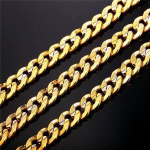 Gold Chain for Men Platinum Plated 18K Gold Plated Two Tone Curb Chain Necklaces