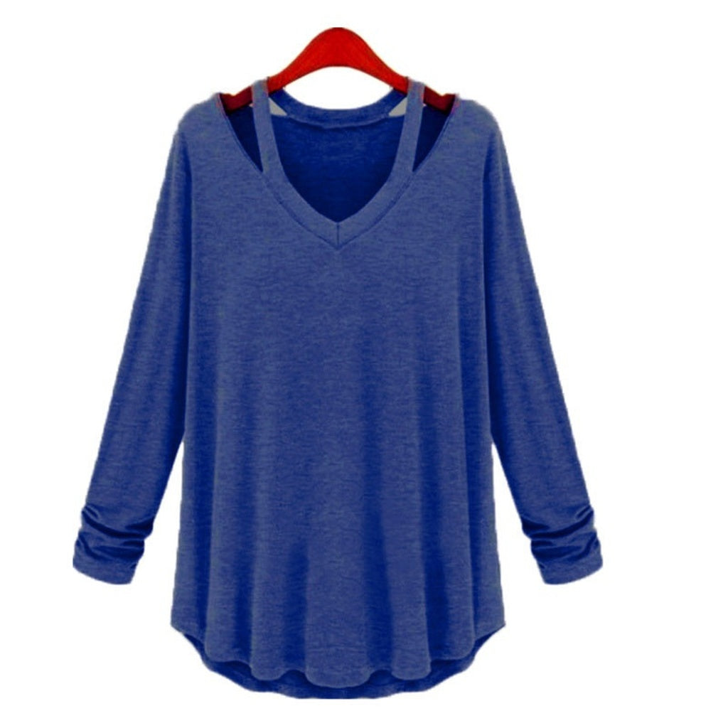 e0d488f11402 ... Fashion Women's Casual Long Sleeve V-Neck Cotton Tee Tank Top Shirt  Blouse ...