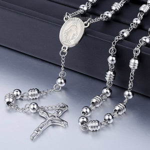 Davieslee Mens Womens Unisex Stainless Steel Bead Chain Jesus Christ Cross Pendant Rosary Necklace