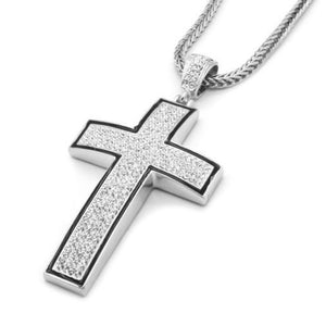 "BEST Mens Silver/Black Iced Out Cross Pendant Hip-Hop 36""in Necklace Chain US SHIPPER DDCCTK"