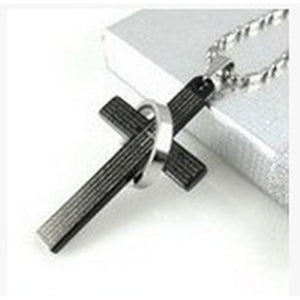 1PCS  Bible Cross Ring Ring Titanium Steel Necklaces Men's Stainless Steel Necklace Men Lovers Necklace