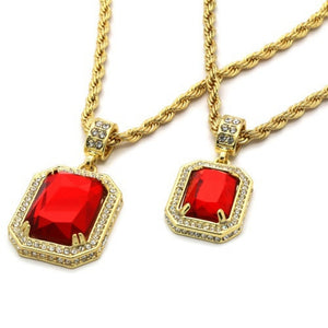 "Men's 14k Gold Plated High Fashion 2 Pieces Ruby Set 4mm 30"" & 24"" Rope chains  FAST US SHIPPER"