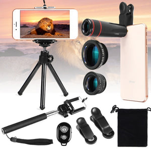 Outdoor 10 In1 Phone Camera Lens Kit 8X Telescope Fisheye Wide Angle Macro Telephoto Lens With Mini Tripod Selfie Stick Monopod