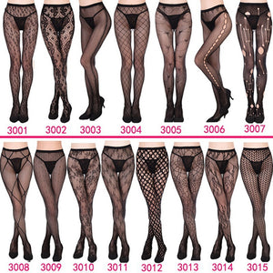 MAX Sexy Black Fishnet Jacquard Stockings Pantyhose Tights Adult Women Plus Size