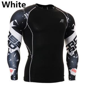 Mens Long Sleeves Compression Shirts Tight Skin Sides 3D Prints Tops Shirts Male Running Training Workout Fitness Sportswear