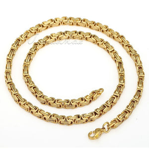 Trendsmax Mens Chain Stainless Steel Necklace Bracelet Byzantine Box Link Gold Tone 8-36inch 5mm