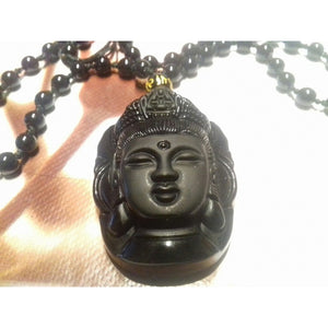 Black Natural A Obsidian Carved Kwan-yin Pendant Fashion Lucky Jewelry Beautiful