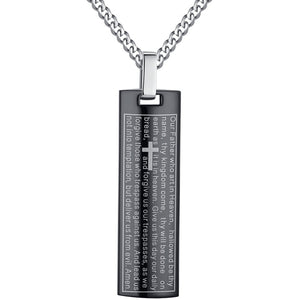 Stainless Steel Men's Lord's Prayer in English and Cross Pendant Necklace - with High Quality Curb Chain