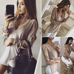 6 Colors!Women Sexy Long-sleeved Deep V Personality Cross Strap Short In Front Long Split T-shirt