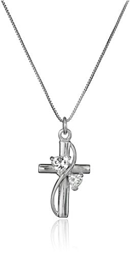 "SHIP BY USPS: Sterling Silver Cubic Zirconia ""Faith Hope Love"" Cross Pendant Necklace, 18"""