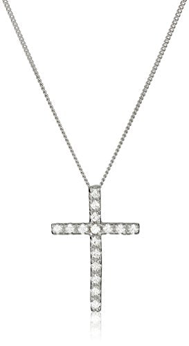 SHIP BY USPS: Sterling Silver and Swarovski Zirconia Cross Pendant Necklace