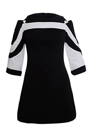 QUEENIE VISCONTI Elegant 3/4 Sleeves Color Block Casual Dresses for Women Fall Clothes