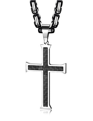 SHIP BY USPS:  Stainless Steel Carbon Fiber Cross Necklace for Men Byzantine Chain Necklace 5MM,22-30 Inches