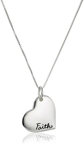 SHIP BY USPS: Sterling Silver Faith Heart and Cross Charm Pendant Necklace, 18""