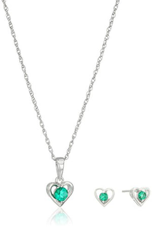 "SHIP BY USPS: Girls' Petite Sterling Silver Birthstone 2.5mm Open Heart Stud Earrings and 16"" Pendant Necklace Jewelry Set"