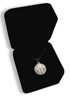 SHIP BY USPS: Baseball Prayer Necklace. Presented in a Beautiful Black Velvet Box. Inspiring Luke 1:37 Bible verse on Back.