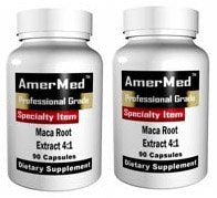 SHIP BY USPS: Maca Root Supplement, 90 Caps (2 BOTTLES) by AmerMed