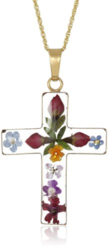 SHIP BY USPS: 14k Gold Over Sterling Silver Pressed Flower Multi-Colored Cross Pendant Necklace, 18""
