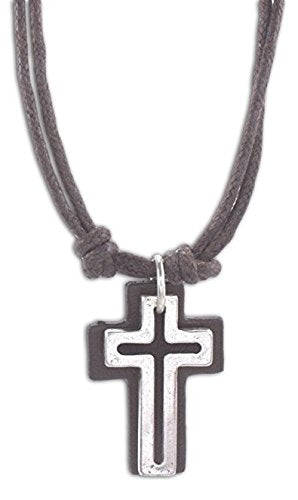 "SHIP BY USPS: Cruz Accessories Open Cross with Leather Back on Double 16"" Cord Vintage Look Necklace"