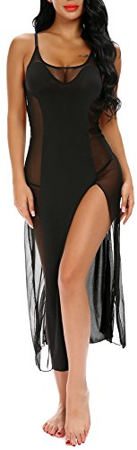 Sexy Lingerie Gown Sling Dress Sheer Mesh Nightgown For Women