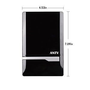 ANTV 50 Mile Radio Antenna, Indoor Amplified FM/AM Antenna for Stereo Radio Audio Signals RF Broadcast Receiver Tuner, 6ft 75Ω, FM Coaxial Cable and 6ft AM cable, Piano black, 1-Pack, New Arrival
