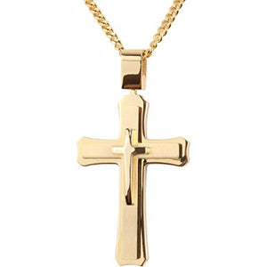 SHIP BY USPS: Cross Necklace for Men with Large Pendant 24 Inch Curb Chain (Color : Silver / Gold / Black)