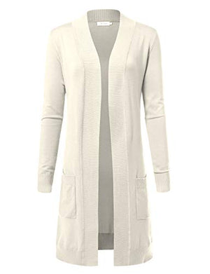 ARC Studio Women's Solid Soft Stretch Longline Long Sleeve Open Front Cardigan (S-XL)