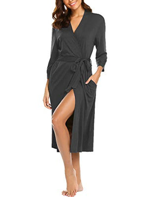 BLUETIME Womens Robe Knit Bathrobe Sleepwear Loungewear Lightweight Kimono Robes Long