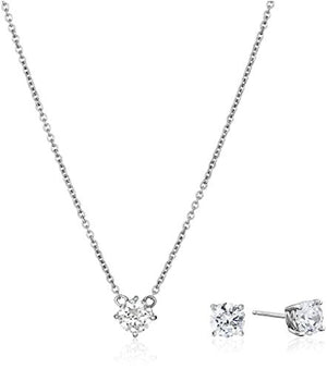 SHIP BY USPS: Platinum-Plated Sterling Silver Swarovski Zirconia Pendant Necklace and Stud Earrings Jewelry Set