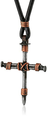 SHIP BY USPS: Bob Siemon Stainless Steel Nail and Copper Wire Cross Pendant on Leather Cord, 30""
