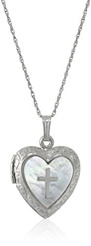 SHIP BY USPS: Sterling Silver Heart and Mother-of-Pearl Heart and Cross Locket Necklace, 18''