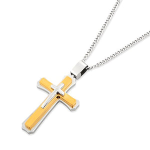 SHIP BY USPS: Cross Necklace for Men & Women with Large Pendant and 24 Inch Curb Chain