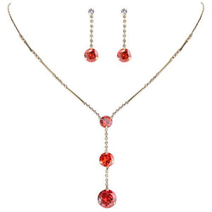 SHIP BY USPS:  Women's Long Ball Round Bridal Y-Necklace Earrings Set Adorned with Austrian Crystal