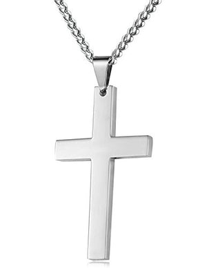 SHIP BY USPS FIBO STEEL Stainless Steel Cross Pendant Chain Necklace for Men Women, 22-24 Inches