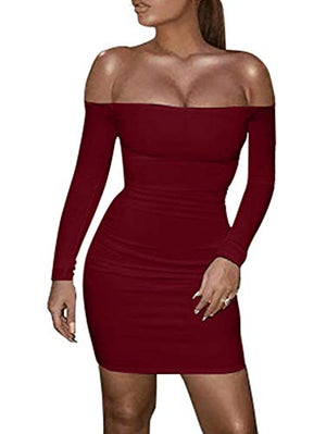 Womens Sexy Tube Top Long Sleeve Backless Lace Up Bodycon Club Mini Dress