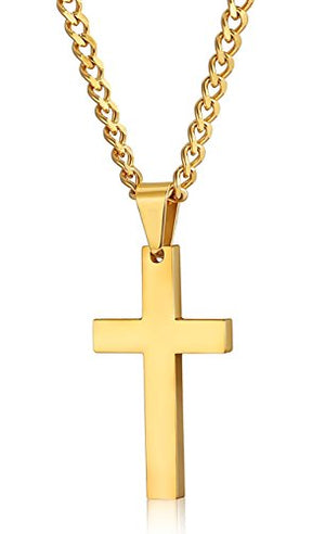 SHIP BY USPS:  Stainless Steel Cross Pendant Necklace for Men Women Curb Chain, 22,24 Inches