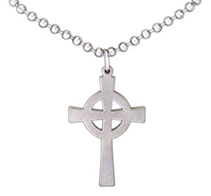 "SHIP BY USPS: G.I. Jewelry Stainless Steel Celtic Cross on 24"" Ball Chain"
