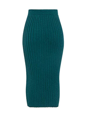 Women's High Wiast Stretchy Ribbed Knit Skirt Pencil Midi Skirt with Slit