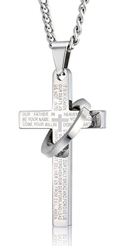 SHIP BY USPS FIBO STEEL Stainless Steel Mens Womens Cross Necklace Lord's Prayer Pendant 24 inches, 3 Colors Available