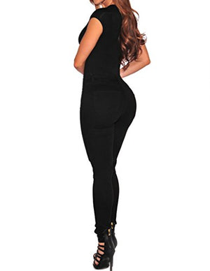 Womens Sexy Lace Up Cap Sleeves Bodysuit Clubwear Tops